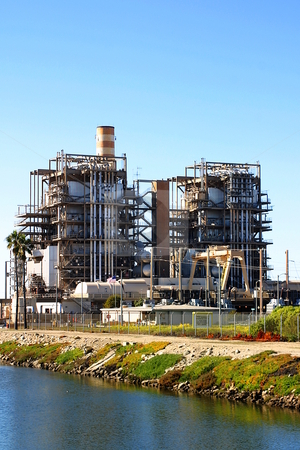 Power Plant stock photo, Natural gas power plant near Ventura California. by Henrik Lehnerer