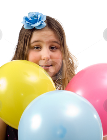 Birthday Girl stock photo, A young birthday girl surrounded by colorful balloons, isolated against a white background by Richard Nelson