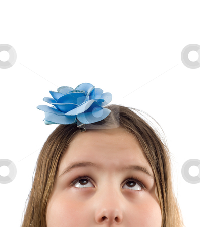 Looking Up stock photo, Closeup view of a young girl's head with her eyes looking up at blank copyspace above her, isolated against a white background by Richard Nelson
