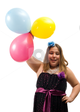 Birthday Party stock photo, A young adolescent girl holding three colorful balloons isolated against a white background by Richard Nelson