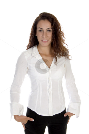 Smiling young lady stock photo, Smiling young lady on an isolated white  background by Imagery Majestic