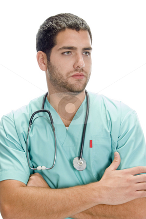 Portrait of handsome doctor stock photo, Portrait of handsome doctor against white background by Imagery Majestic