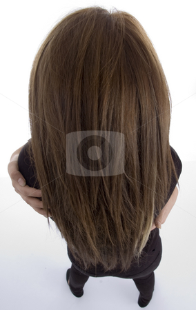Female with long hair stock photo, Female with long hair against white background by Imagery Majestic