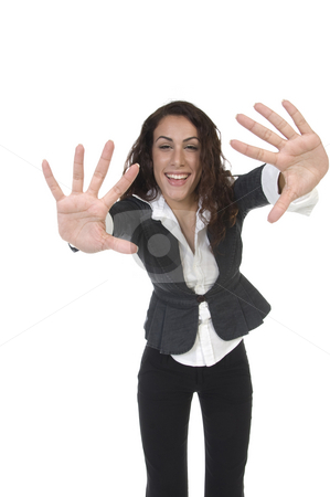 Lady showing palms stock photo, Lady showing palms against white background by Imagery Majestic