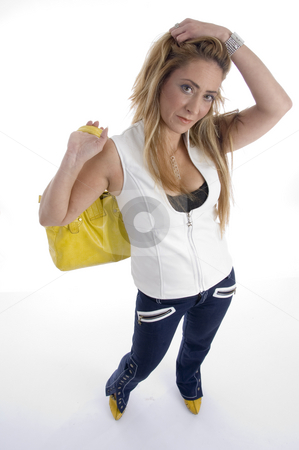 Woman with hand bag stock photo, Woman with hand bag on an isolated background by Imagery Majestic
