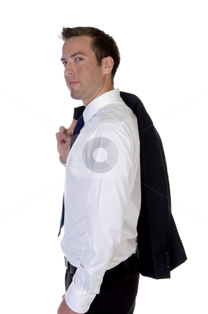 Man posing with his coat stock photo, Man posing with his coat with white background by Imagery Majestic
