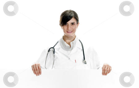 Lady doctor posing with placard stock photo, Lady doctor posing with placard against white background by Imagery Majestic