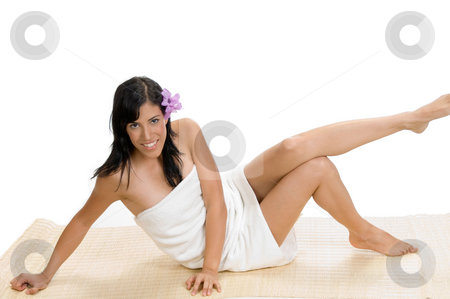Gorgeous model posing stock photo, Gorgeous model posing against white background by Imagery Majestic