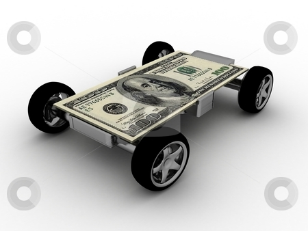 Money on wheels stock photo, Three dimensional one hundred dollar bill on wheels by Imagery Majestic