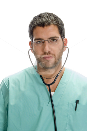Doctor with stethoscope in his ears stock photo, Doctor with stethoscope in his ears with white background by Imagery Majestic