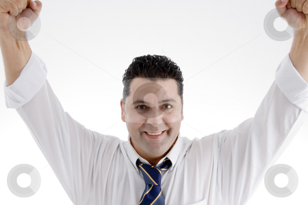 Smiling successful businessman stock photo, Portrait of smiling successful businessman on  an isolated white background by Imagery Majestic