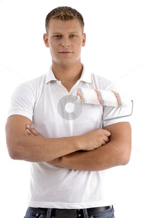 Portrait of young man in cool pose stock photo, Portrait of young man in cool pose on an isolated white background by Imagery Majestic