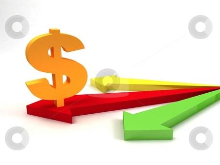Dollar sign on arrows stock photo, Three dimensional dollar sign on arrows by Imagery Majestic