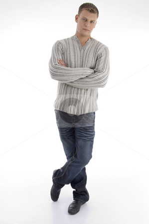 Standing man with crossed arms stock photo, Standing man with crossed arms on an isolated background by Imagery Majestic