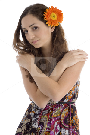 Portrait of young woman with gerbera flower stock photo, Portrait of young woman with gerbera flower isolated with white background by Imagery Majestic