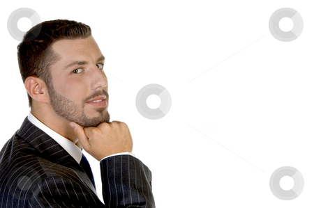 Thinking handsome businessperson stock photo, Thinking handsome businessperson with white background by Imagery Majestic