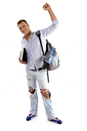 Full body pose of successful student stock photo, Full body pose of successful student against white background by Imagery Majestic