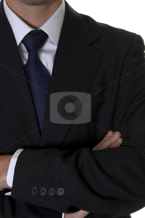 Businessman with folded hands stock photo, Businessman with folded hands with white background by Imagery Majestic