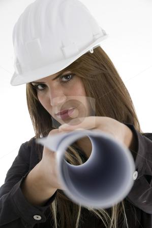 Female architect with chart stock photo, Female architect with chart with white background by Imagery Majestic