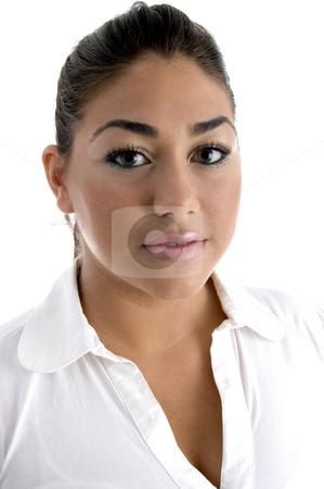 Close up of beautiful woman stock photo, Close up of beautiful woman against white background by Imagery Majestic