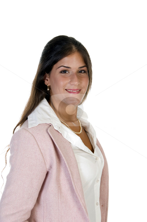 Happy businesswoman stock photo, Happy businesswoman against white background by Imagery Majestic