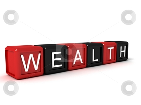 Word the wealth from colorful blocks stock photo, Word the wealth from colorful blocks, 3d concept illustration by Imagery Majestic