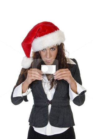 Lady showing card stock photo, Lady showing card on an isolated background by Imagery Majestic