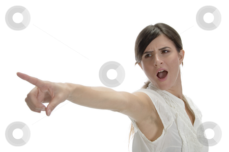 Lady pointing side stock photo, Lady pointing side on an isolated white background by Imagery Majestic