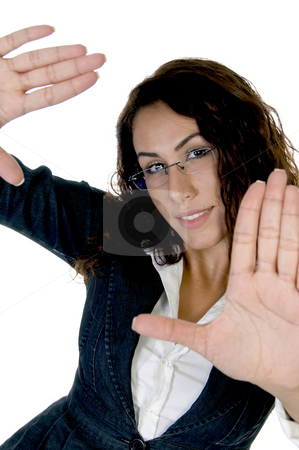 Lady making pose with palm stock photo, Lady making pose with palm on an isolated background by Imagery Majestic