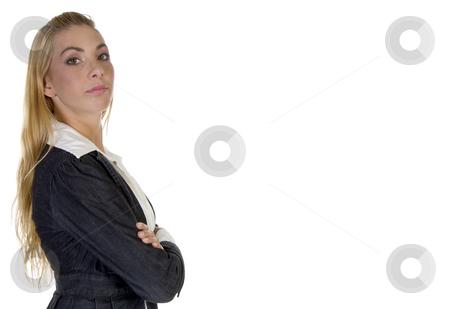 Stylish pose of businesswoman stock photo, Stylish pose of businesswoman against white background by Imagery Majestic