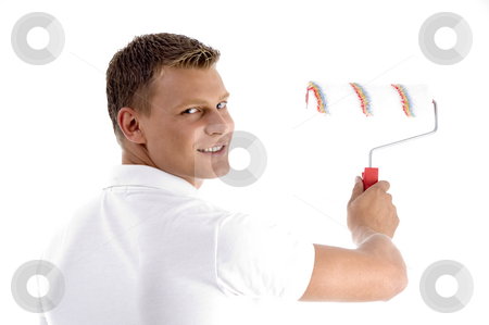 Close up view of handsome painter stock photo, Close up view of handsome painter with white background by Imagery Majestic