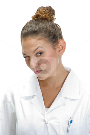 Portrait of winking lady doctor stock photo, Portrait of winking lady doctor by Imagery Majestic