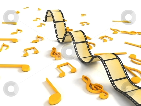 Three dimensional negative roll with musical notes stock photo, Isolated three dimensional negative roll with musical notes by Imagery Majestic