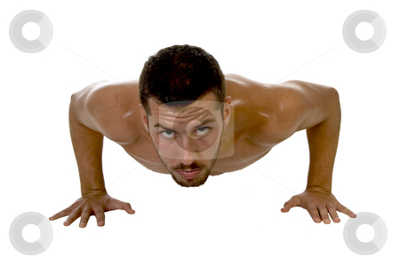 Muscle man at workout stock photo, Muscle man at workout  on an isolated background by Imagery Majestic