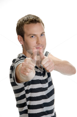 Portrait of happy man stock photo, Portrait of happy man showing thumbs up by Imagery Majestic