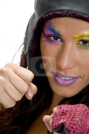 Female model in boxing pose stock photo, Close up of female model in boxing pose by Imagery Majestic