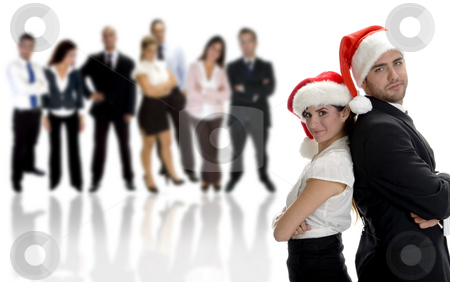 Business partners celebrating christmas stock photo, Business partners celebrating christmas with group of people by Imagery Majestic