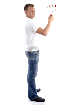 Cleaning man painting  stock photo, Cleaning man painting against white background by Imagery Majestic