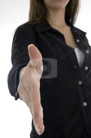 Woman offering handshake stock photo, Woman offering handshake on an isolated white background by Imagery Majestic