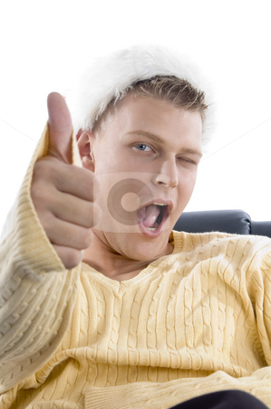Man showing thumbs up  stock photo, Man showing thumbs up on an isolated background by Imagery Majestic