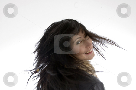 Woman with fluttering hair stock photo, Woman with fluttering hair isolated on white background by Imagery Majestic