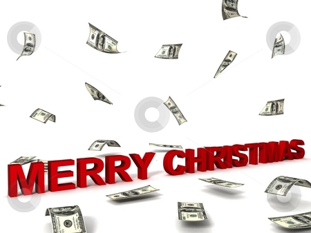 Merry christmas text and dollars stock photo, Three dimensional merry christmas text and dollars by Imagery Majestic