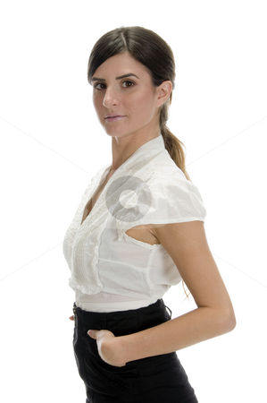 Glamorous woman putting her hand in pocket stock photo, Glamorous woman putting her hand in pocket against white background by Imagery Majestic