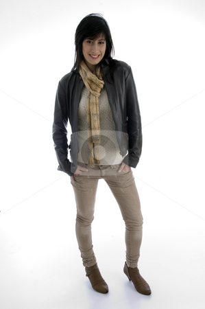 Standing beautiful woman with muffler stock photo, Standing beautiful woman with muffler on an isolated white background by Imagery Majestic
