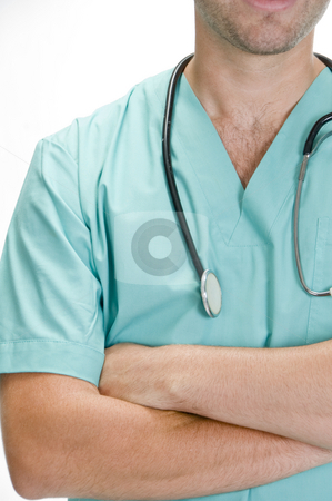 Chest view of young doctor stock photo, Chest view of young doctor by Imagery Majestic