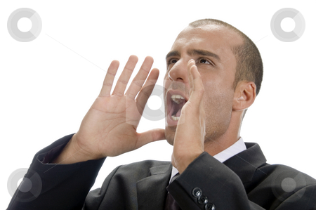 Frustrated businessman shouting stock photo, Frustrated businessman shouting with white background by Imagery Majestic