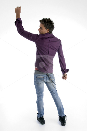 Back pose of standing model stock photo, Back pose of standing model on an isolated white background by Imagery Majestic