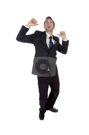 A young handsome businessman celebrating a success stock photo, A young handsome businessman celebrating a success on an isolated white background by Imagery Majestic