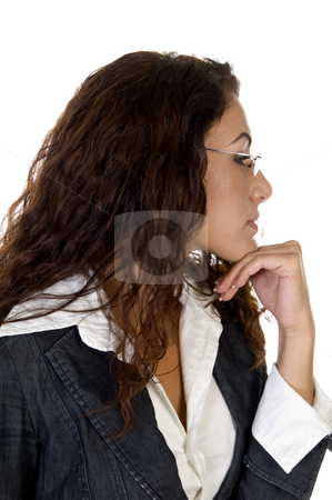Contemplated woman stock photo, Contemplated woman on an isolated white background by Imagery Majestic