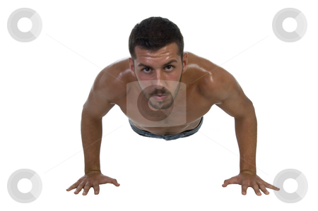 Handsome young male exercising stock photo, Handsome young male exercising on an isolated white background by Imagery Majestic